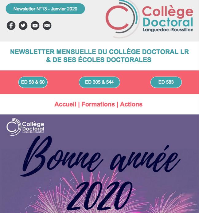 Newsletter du Collège Doctoral N°13 - 18/01/2019
