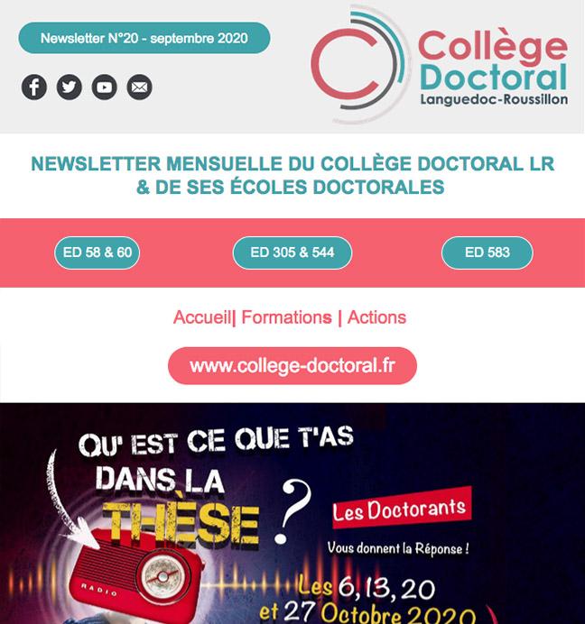 Newsletter du Collège Doctoral N°20 - 22/09/2020