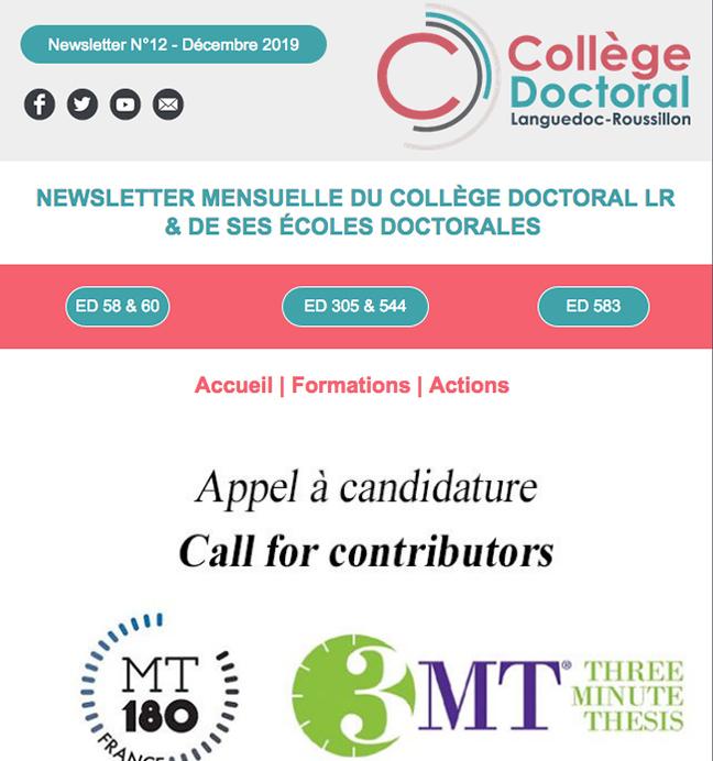 Newsletter du Collège Doctoral N°12 - 16/12/2019